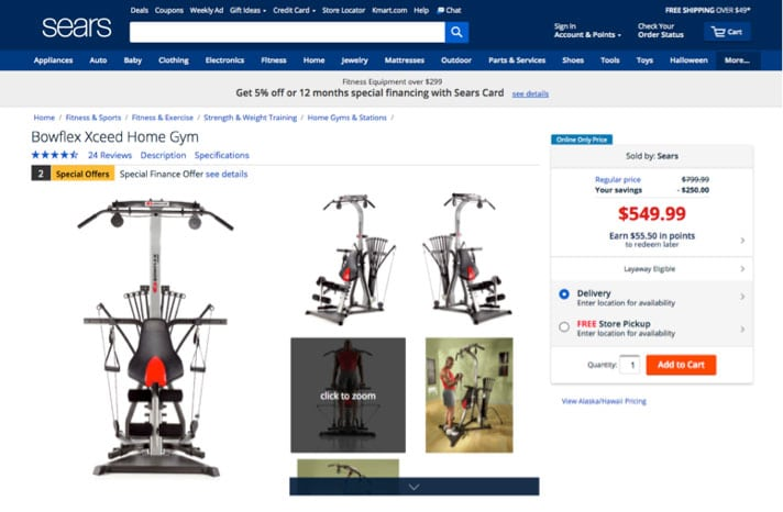 ecommerce example, Sears